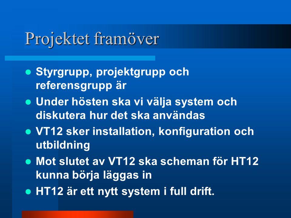 Projektet framöver Styrgrupp, projektgrupp och referensgrupp är Under hösten ska vi välja system och diskutera hur det ska användas VT12 sker installa