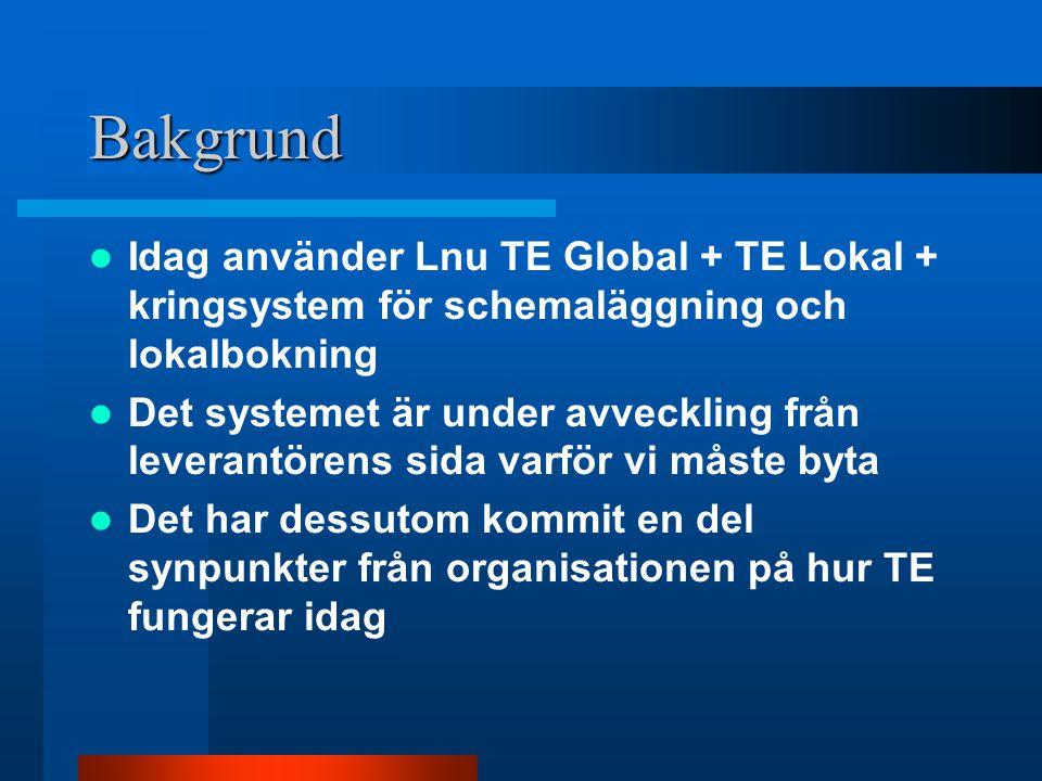 Bakgrund Idag använder Lnu TE Global + TE Lokal + kringsystem för schemaläggning och lokalbokning Det systemet är under avveckling från leverantörens