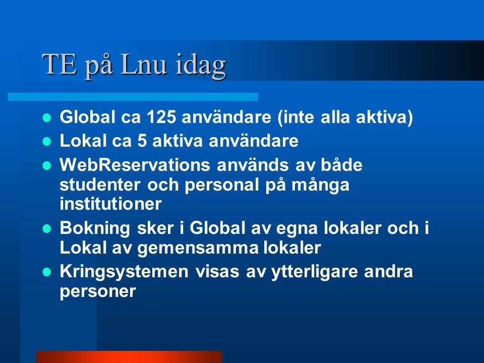 TE på Lnu idag Global ca 125 användare (inte alla aktiva) Lokal ca 5 aktiva användare WebReservations används av både studenter och personal på många