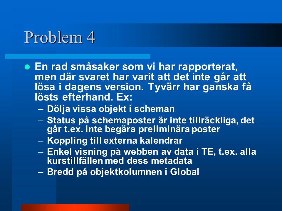 Problem 4 En rad småsaker som vi har rapporterat, men där svaret har varit att det inte går att lösa i dagens version. Tyvärr har ganska få lösts efte