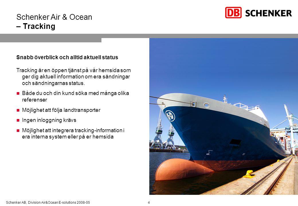 Schenker AB, Division Air&Ocean E-solutions 2008-054 Schenker Air & Ocean – Tracking Snabb överblick och alltid aktuell status Tracking är en öppen tj