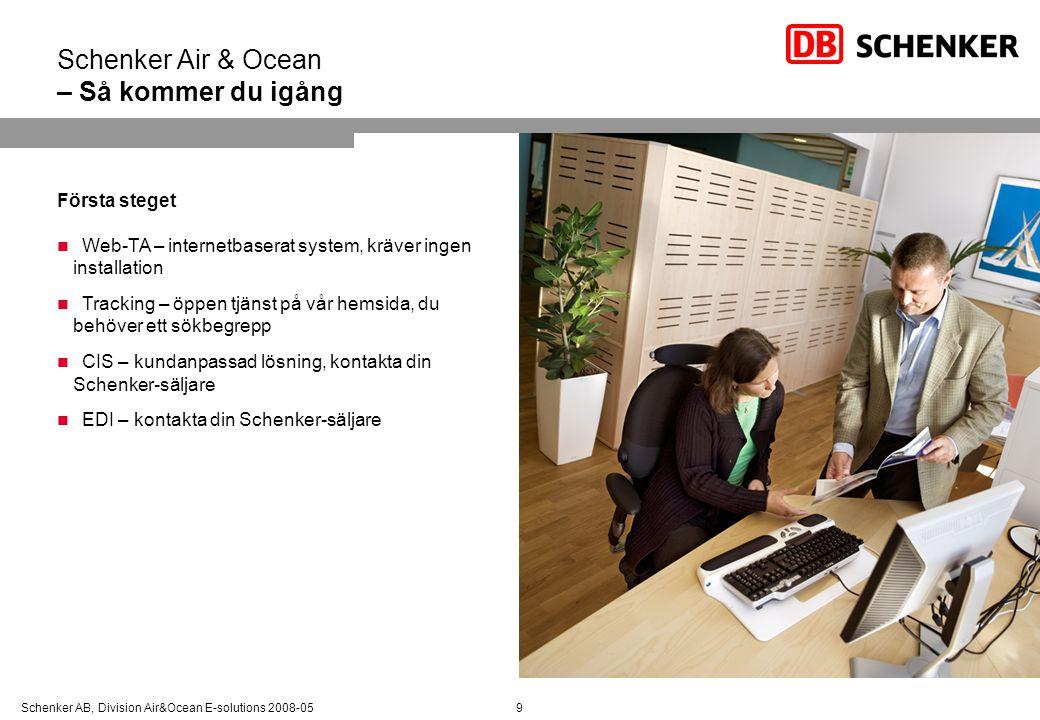 Schenker AB, Division Air&Ocean E-solutions 2008-05 Schenker Air & Ocean – Så kommer du igång 9 Första steget Web-TA – internetbaserat system, kräver