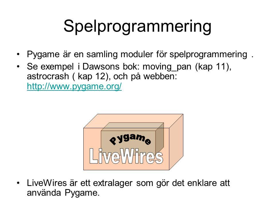 Spelprogrammering Pygame är en samling moduler för spelprogrammering. Se exempel i Dawsons bok: moving_pan (kap 11), astrocrash ( kap 12), och på webb