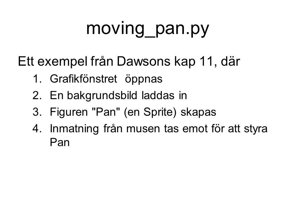 moving_pan.py Ett exempel från Dawsons kap 11, där 1.Grafikfönstret öppnas 2.En bakgrundsbild laddas in 3.Figuren Pan (en Sprite) skapas 4.Inmatning från musen tas emot för att styra Pan