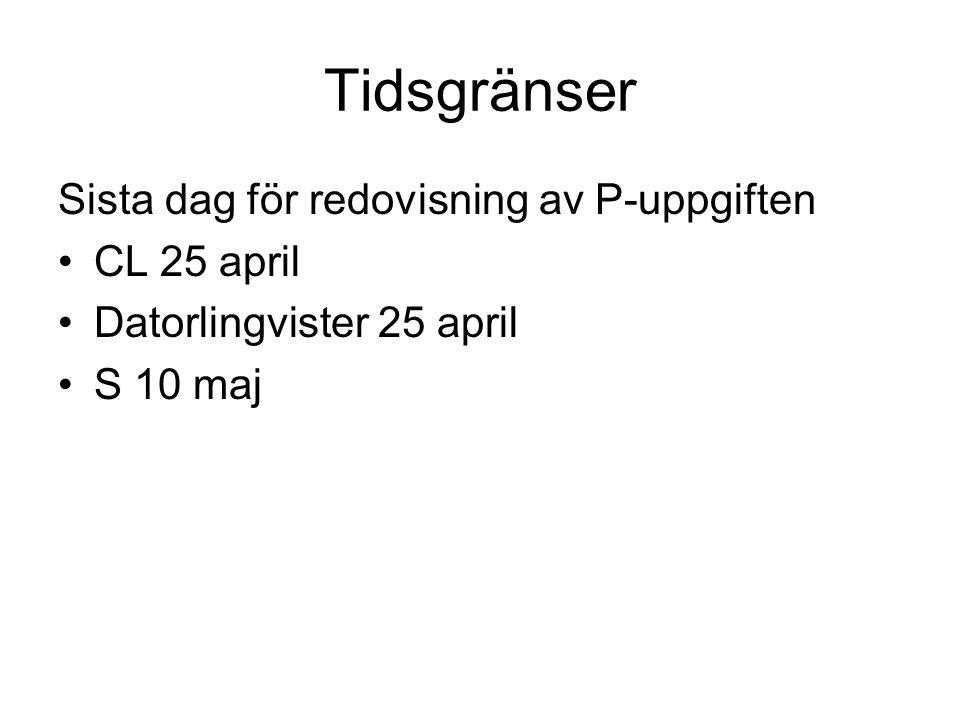 Tidsgränser Sista dag för redovisning av P-uppgiften CL 25 april Datorlingvister 25 april S 10 maj
