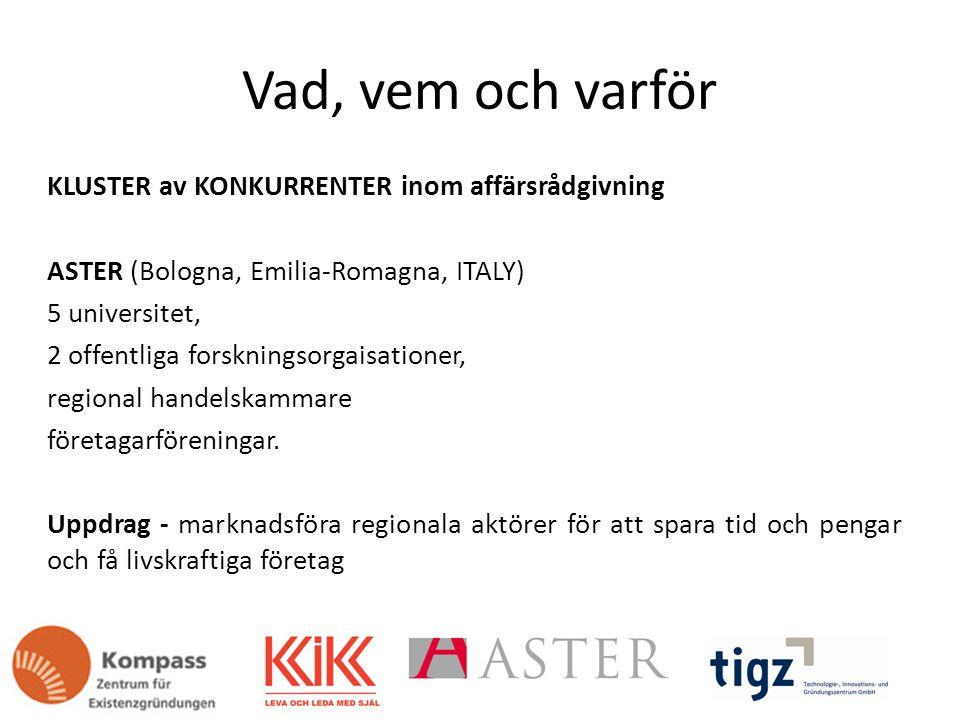 Vad, vem och varför KLUSTER av KONKURRENTER inom affärsrådgivning ASTER (Bologna, Emilia-Romagna, ITALY) 5 universitet, 2 offentliga forskningsorgaisationer, regional handelskammare företagarföreningar.