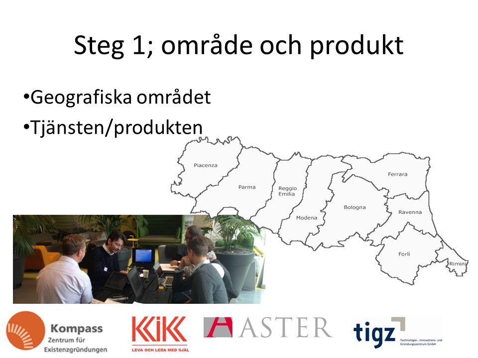 Steg 1; område och produkt Geografiska området Tjänsten/produkten