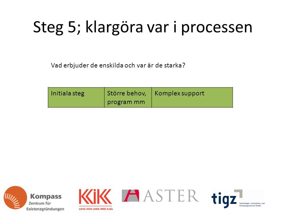 Steg 5; klargöra var i processen Initiala stegStörre behov, program mm Komplex support Vad erbjuder de enskilda och var är de starka