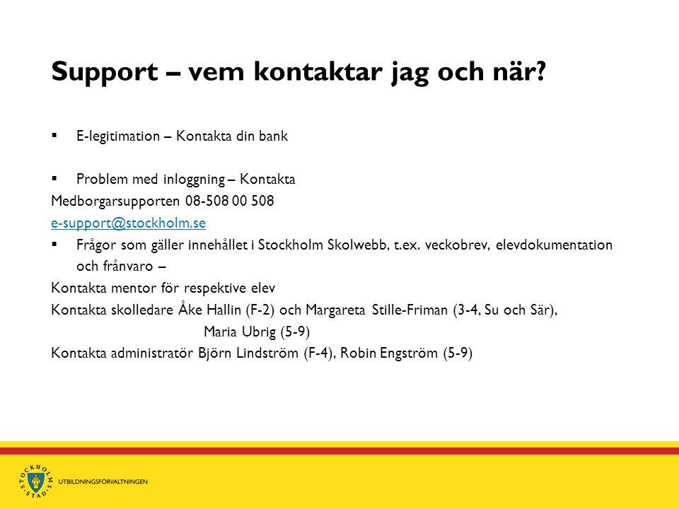 Support – vem kontaktar jag och när?  E-legitimation – Kontakta din bank  Problem med inloggning – Kontakta Medborgarsupporten 08-508 00 508 e-suppo
