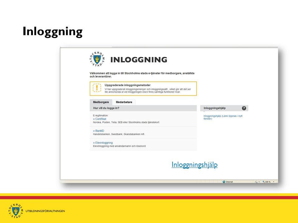 Inloggning Inloggningshjälp