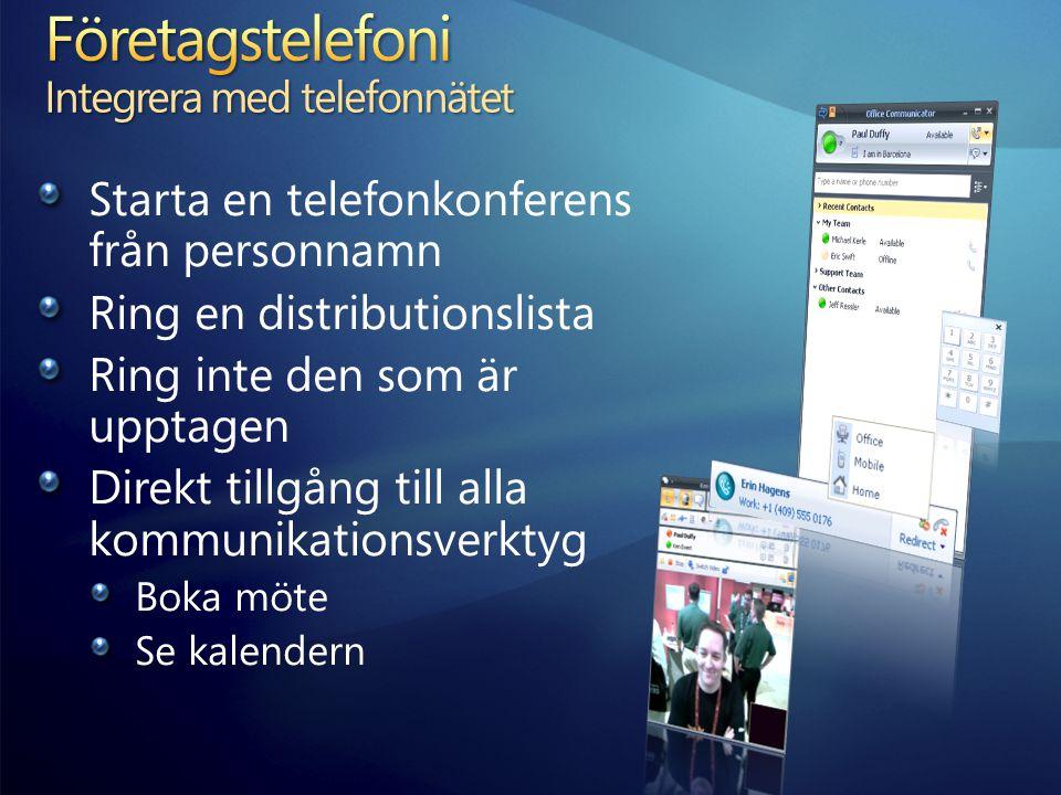 Starta en telefonkonferens från personnamn Ring en distributionslista Ring inte den som är upptagen Direkt tillgång till alla kommunikationsverktyg Boka möte Se kalendern