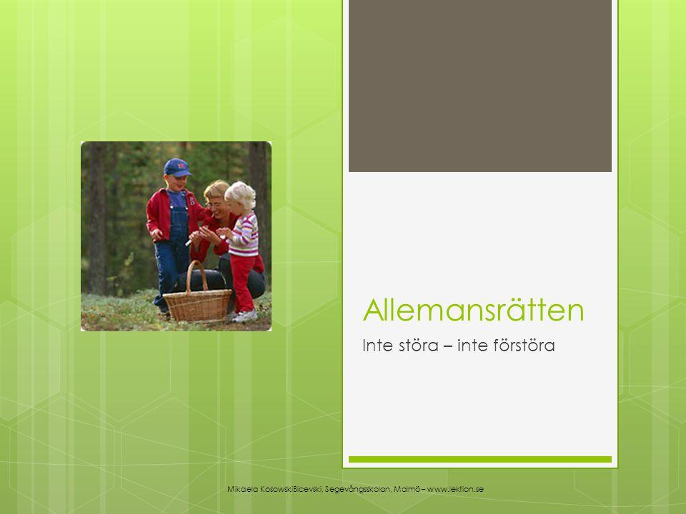 Allemansrätten Inte störa – inte förstöra Mikaela KosowskiBicevski, Segevångsskolan, Malmö – www.lektion.se
