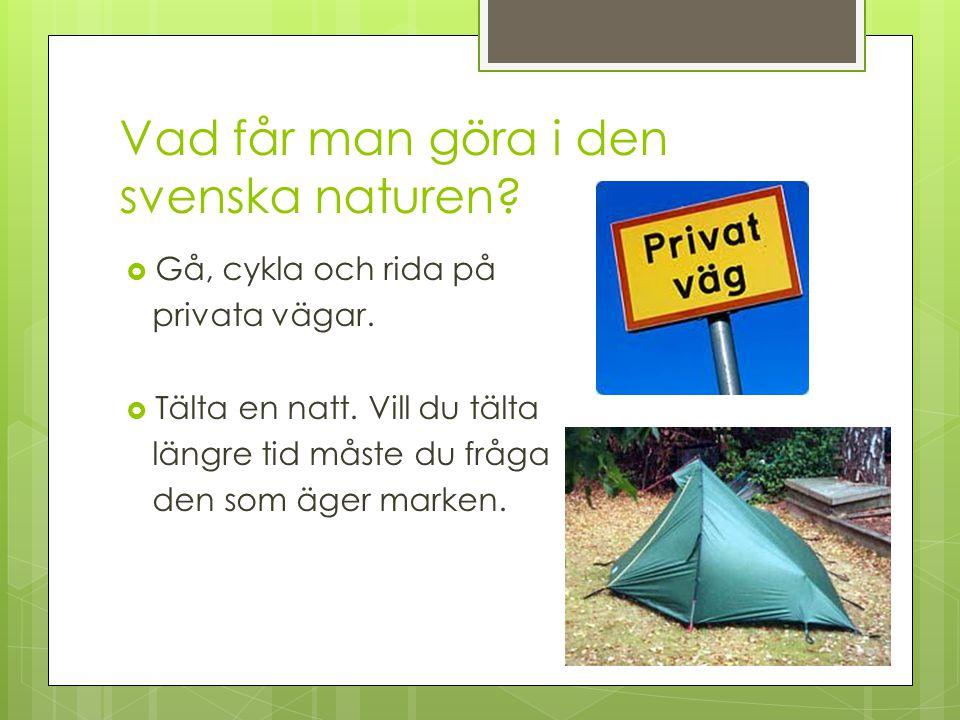 Vad får man göra i den svenska naturen?  Gå, cykla och rida på privata vägar.  Tälta en natt. Vill du tälta längre tid måste du fråga den som äger m