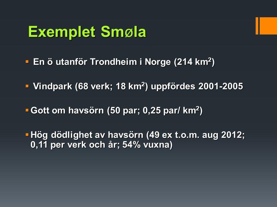 Exemplet Smla Exemplet Smøla  En ö utanför Trondheim i Norge (214 km 2 )  Vindpark (68 verk; 18 km 2 ) uppfördes 2001-2005  Gott om havsörn (50 par