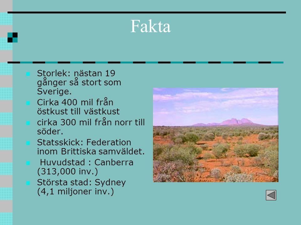 Fakta Storlek: nästan 19 gånger så stort som Sverige. Cirka 400 mil från östkust till västkust cirka 300 mil från norr till söder. Statsskick: Federat