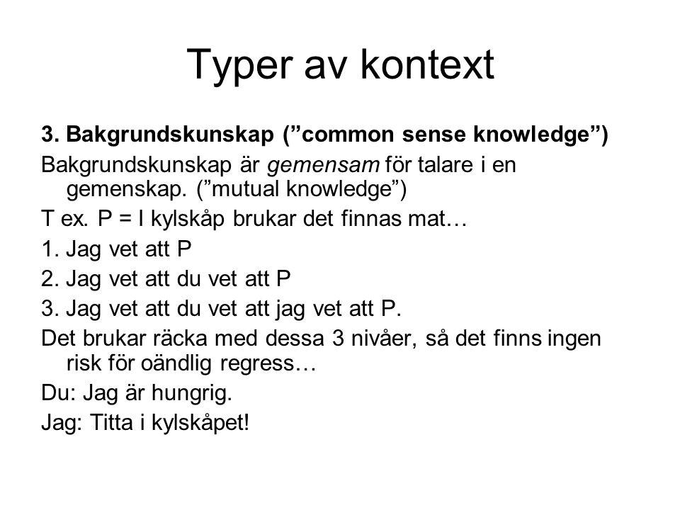 """Typer av kontext 3. Bakgrundskunskap (""""common sense knowledge"""") Bakgrundskunskap är gemensam för talare i en gemenskap. (""""mutual knowledge"""") T ex. P ="""