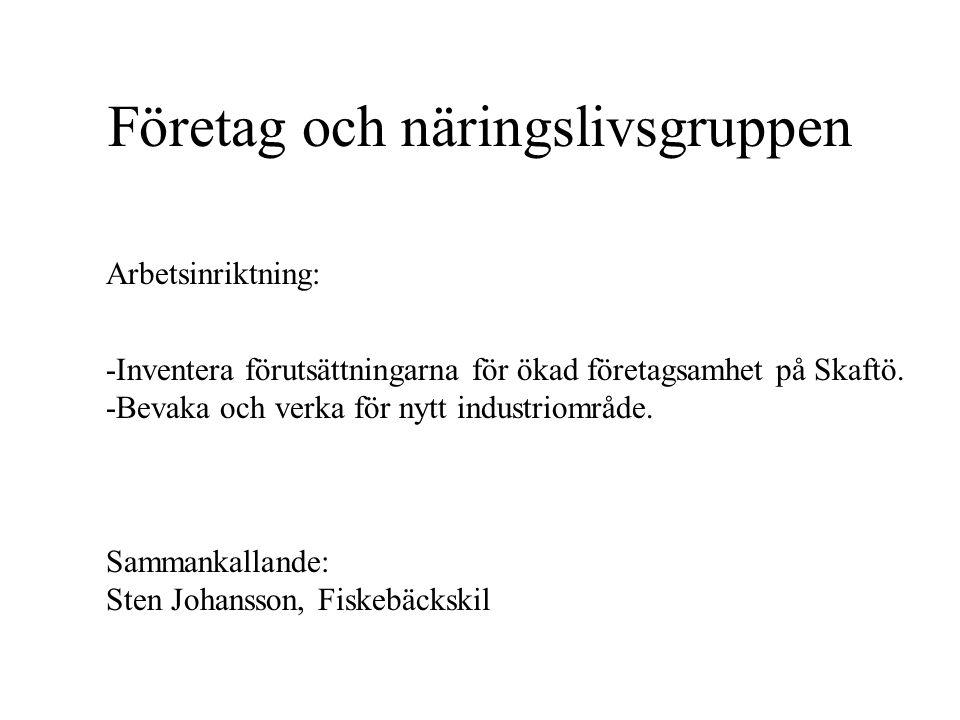 Företag och näringslivsgruppen Arbetsinriktning: Sammankallande: Sten Johansson, Fiskebäckskil -Inventera förutsättningarna för ökad företagsamhet på