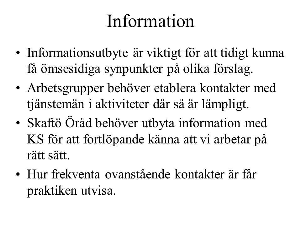 Information Informationsutbyte är viktigt för att tidigt kunna få ömsesidiga synpunkter på olika förslag. Arbetsgrupper behöver etablera kontakter med