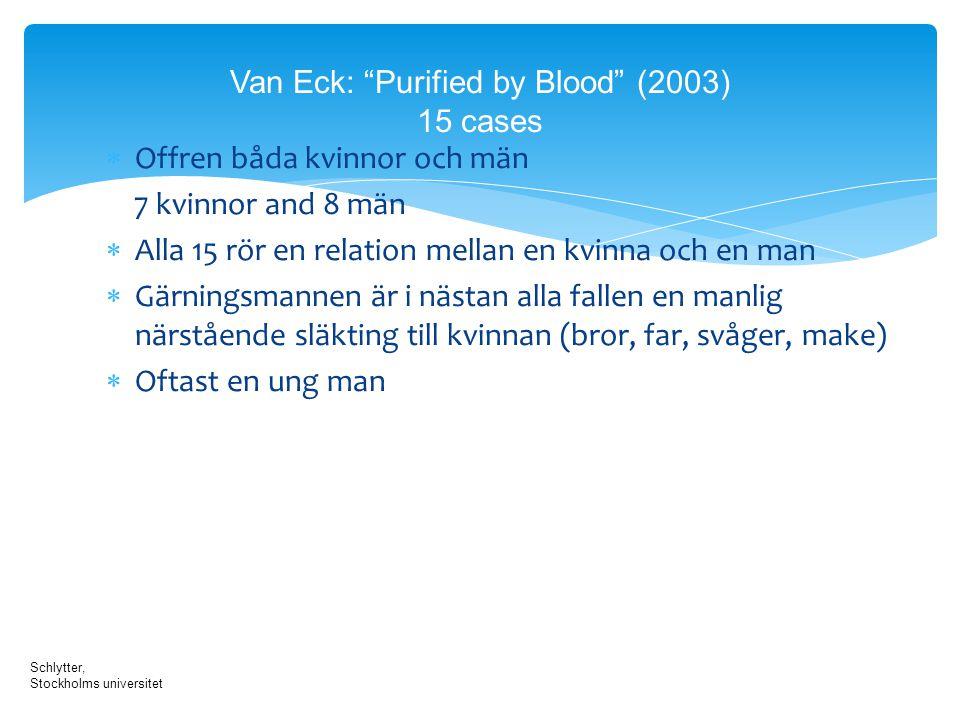 """Van Eck: """"Purified by Blood"""" (2003) 15 cases  Offren båda kvinnor och män 7 kvinnor and 8 män  Alla 15 rör en relation mellan en kvinna och en man """