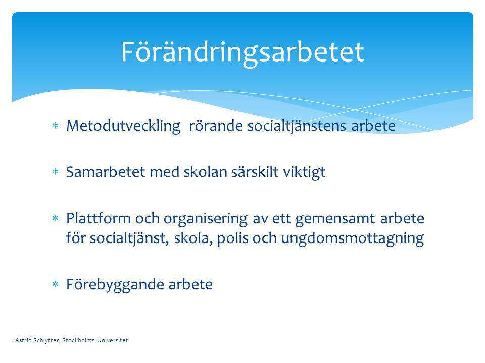  Metodutveckling rörande socialtjänstens arbete  Samarbetet med skolan särskilt viktigt  Plattform och organisering av ett gemensamt arbete för soc