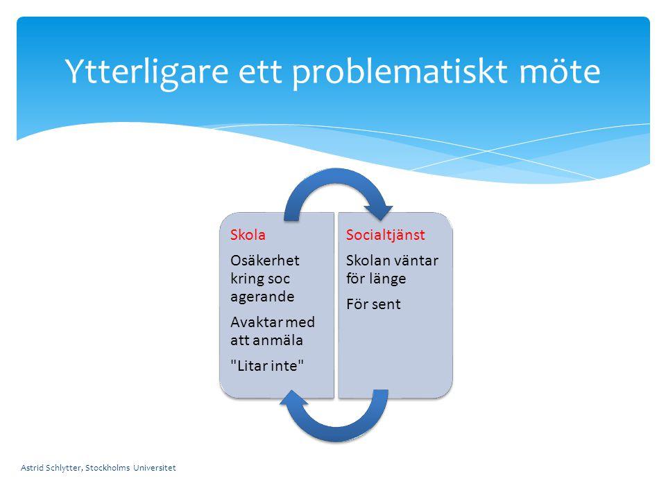 Astrid Schlytter, Stockholms Universitet Ytterligare ett problematiskt möte Skola Osäkerhet kring soc agerande Avaktar med att anmäla