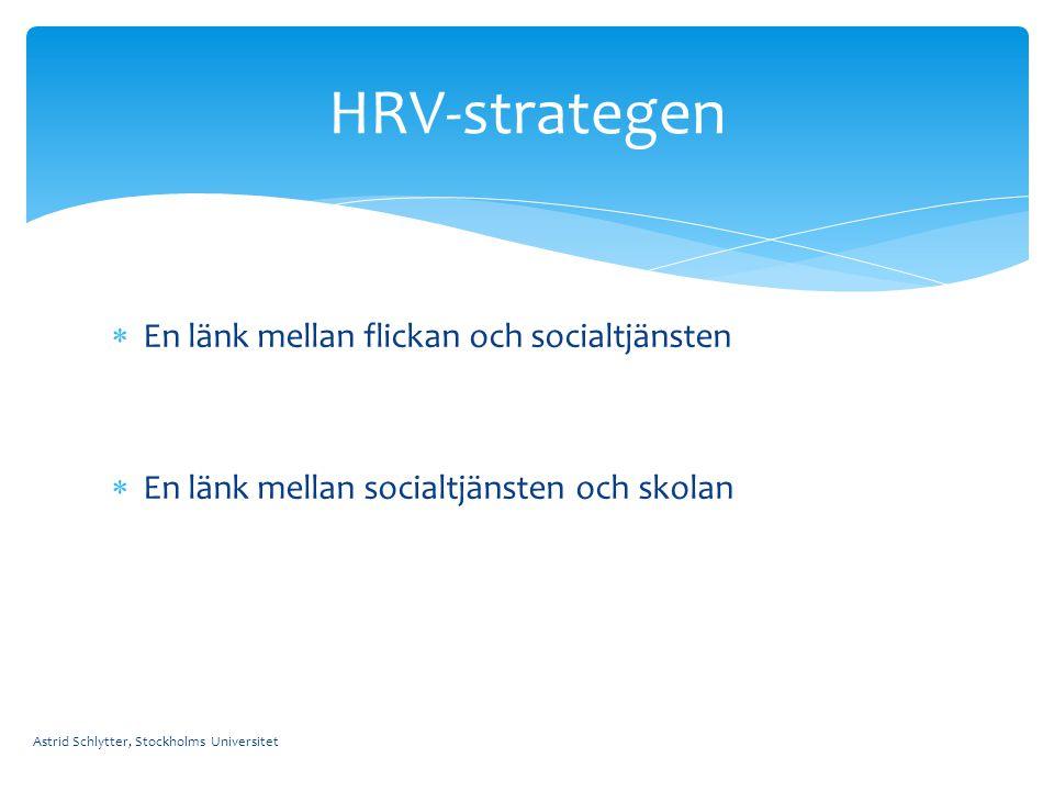  En länk mellan flickan och socialtjänsten  En länk mellan socialtjänsten och skolan Astrid Schlytter, Stockholms Universitet HRV-strategen