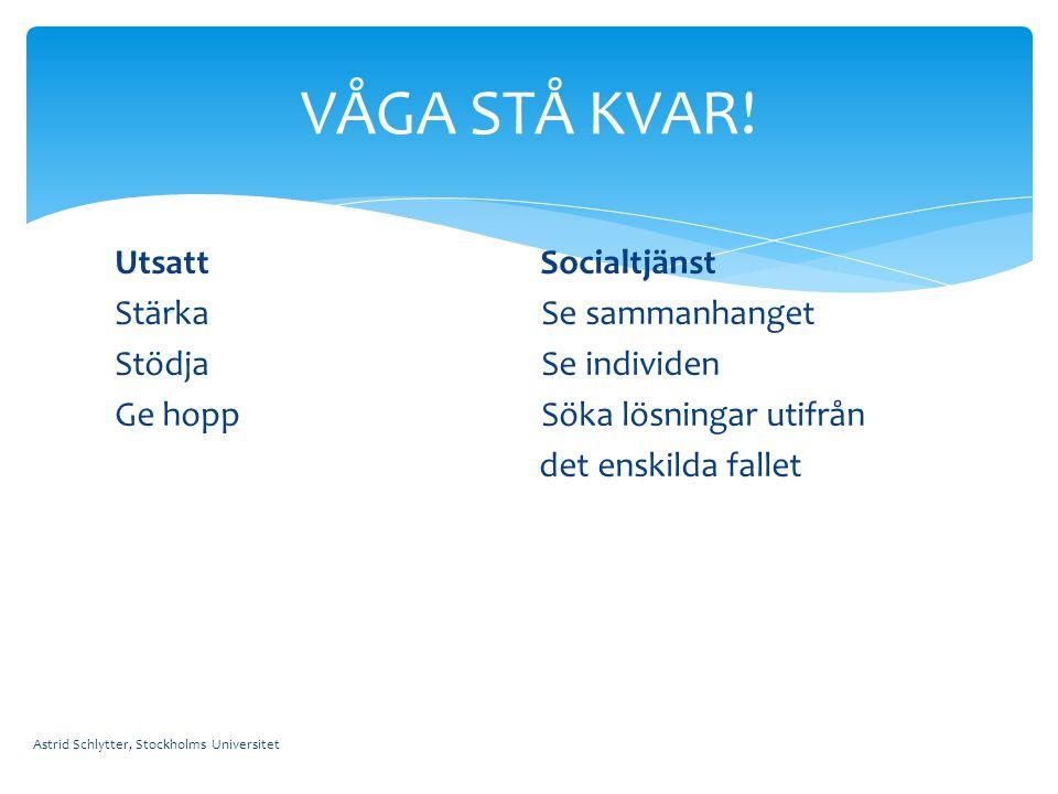 Utsatt Socialtjänst Stärka Se sammanhanget Stödja Se individen Ge hopp Söka lösningar utifrån det enskilda fallet Astrid Schlytter, Stockholms Univers