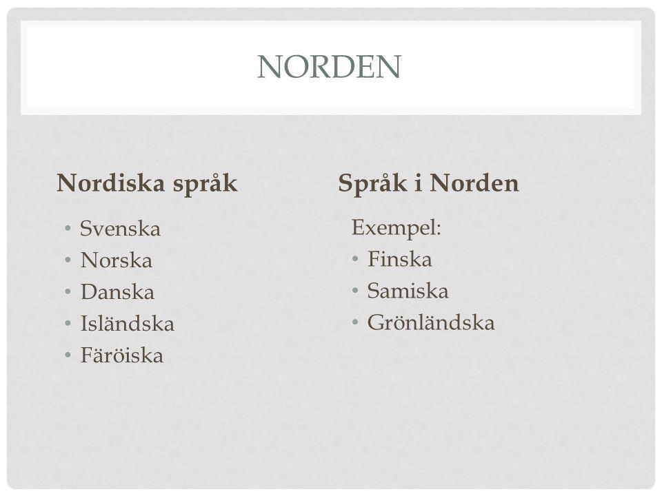 NORDEN Nordiska språk Svenska Norska Danska Isländska Färöiska Språk i Norden Exempel: Finska Samiska Grönländska