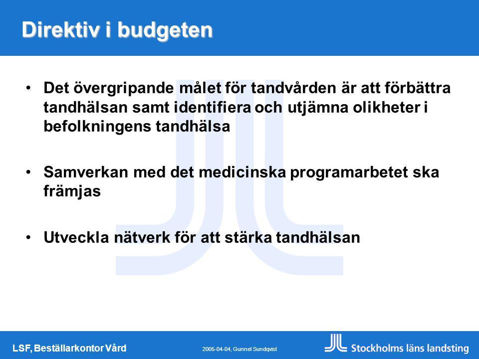 LSF, Beställarkontor Vård 2005-04-04, Gunnel Sundqvist Direktiv i budgeten Det övergripande målet för tandvården är att förbättra tandhälsan samt identifiera och utjämna olikheter i befolkningens tandhälsa Samverkan med det medicinska programarbetet ska främjas Utveckla nätverk för att stärka tandhälsan