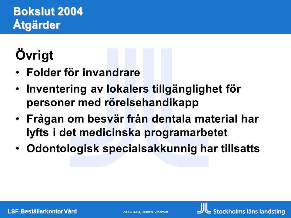 LSF, Beställarkontor Vård 2005-04-04, Gunnel Sundqvist Bokslut 2004 Åtgärder Övrigt Folder för invandrare Inventering av lokalers tillgänglighet för personer med rörelsehandikapp Frågan om besvär från dentala material har lyfts i det medicinska programarbetet Odontologisk specialsakkunnig har tillsatts
