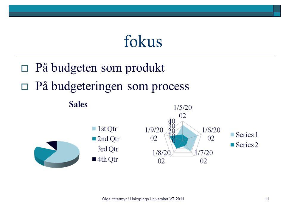 fokus  På budgeten som produkt  På budgeteringen som process Olga Yttermyr / Linköpings Universitet VT 201111