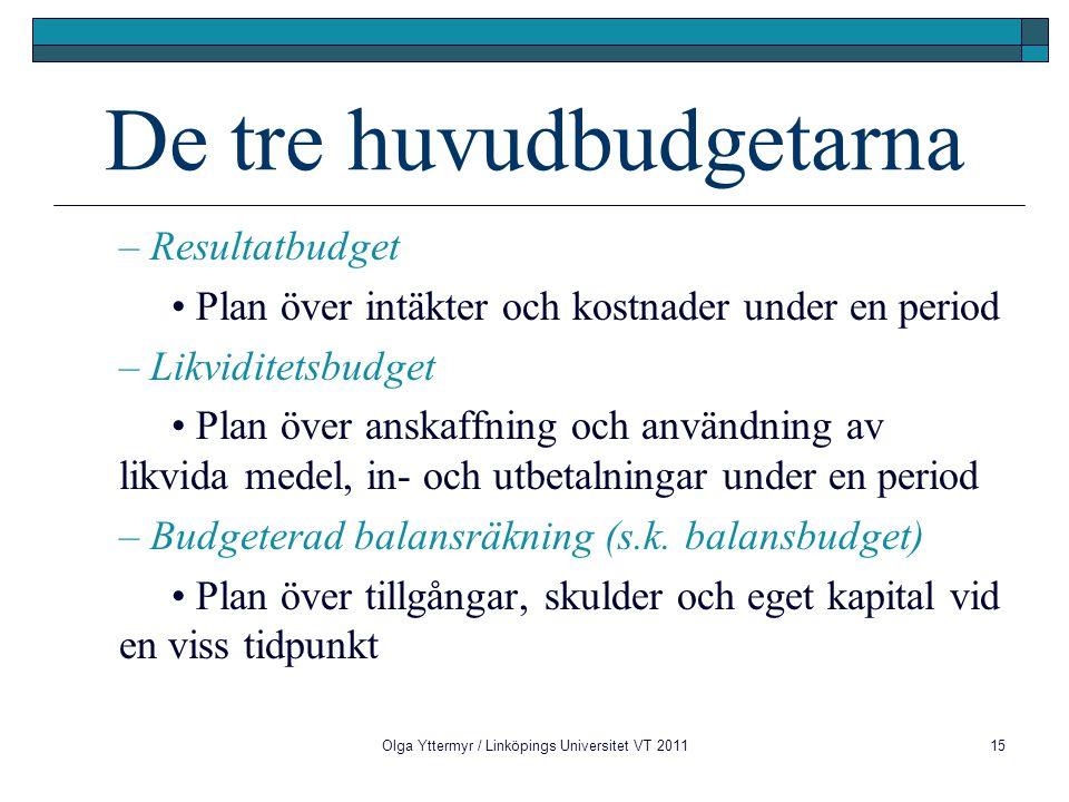 Olga Yttermyr / Linköpings Universitet VT 201115 De tre huvudbudgetarna – Resultatbudget Plan över intäkter och kostnader under en period – Likviditet