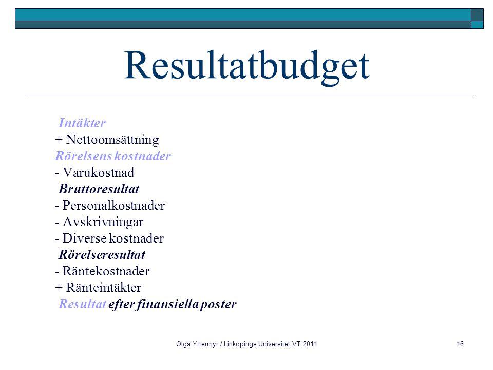 Olga Yttermyr / Linköpings Universitet VT 201116 Resultatbudget Intäkter + Nettoomsättning Rörelsens kostnader - Varukostnad Bruttoresultat - Personalkostnader - Avskrivningar - Diverse kostnader Rörelseresultat - Räntekostnader + Ränteintäkter Resultat efter finansiella poster