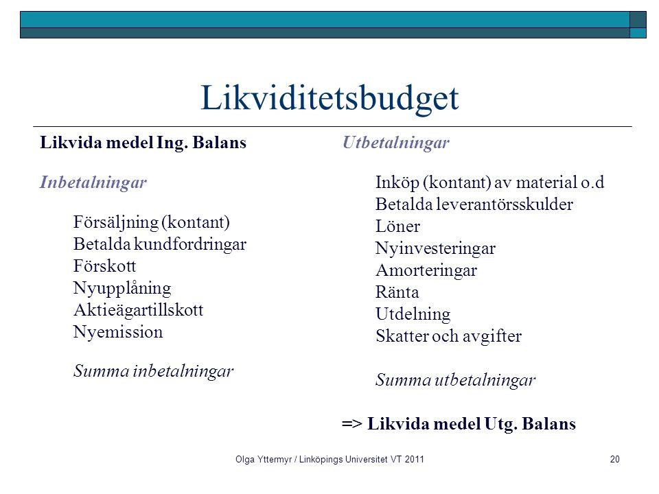 Olga Yttermyr / Linköpings Universitet VT 201120 Likviditetsbudget Likvida medel Ing. Balans Inbetalningar Försäljning (kontant) Betalda kundfordringa