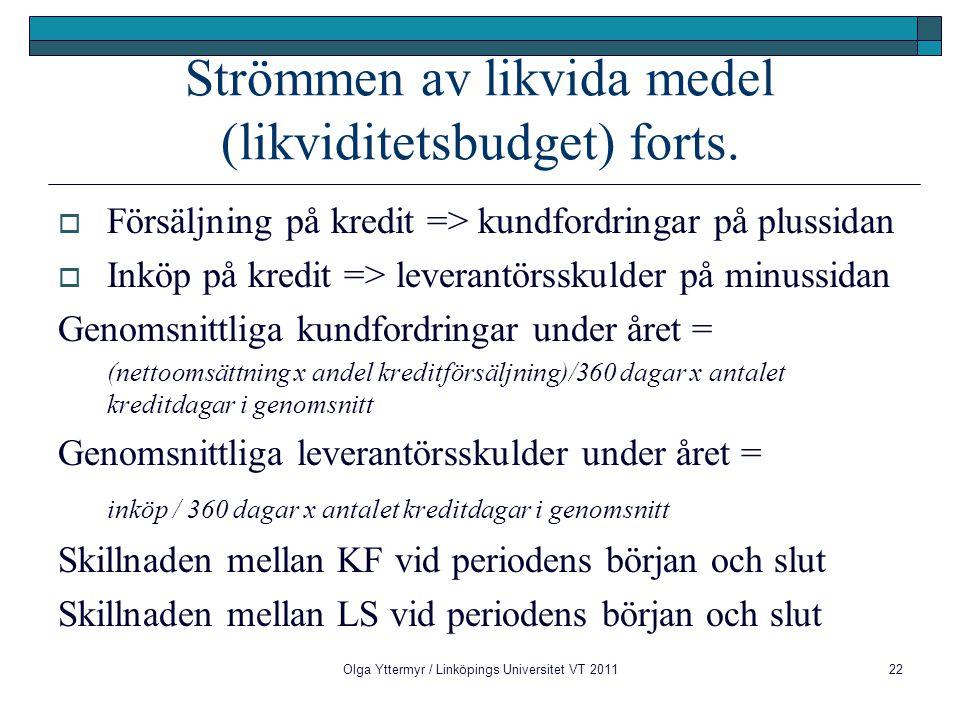 Olga Yttermyr / Linköpings Universitet VT 201122 Strömmen av likvida medel (likviditetsbudget) forts.  Försäljning på kredit => kundfordringar på plu