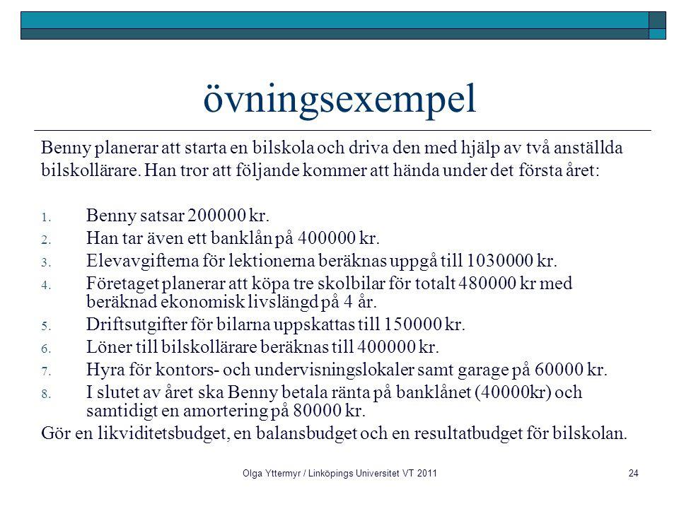 Olga Yttermyr / Linköpings Universitet VT 201124 övningsexempel Benny planerar att starta en bilskola och driva den med hjälp av två anställda bilskol