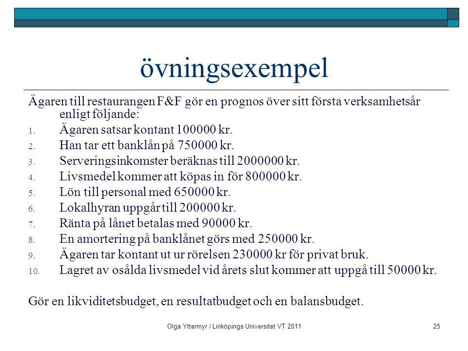 Olga Yttermyr / Linköpings Universitet VT 201125 övningsexempel Ägaren till restaurangen F&F gör en prognos över sitt första verksamhetsår enligt följ