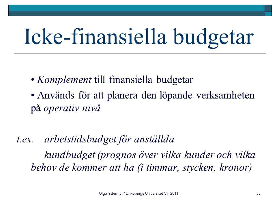 Olga Yttermyr / Linköpings Universitet VT 201130 Icke-finansiella budgetar Komplement till finansiella budgetar Används för att planera den löpande verksamheten på operativ nivå t.ex.