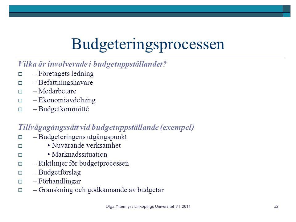 Olga Yttermyr / Linköpings Universitet VT 201132 Budgeteringsprocessen Vilka är involverade i budgetuppställandet?  – Företagets ledning  – Befattni