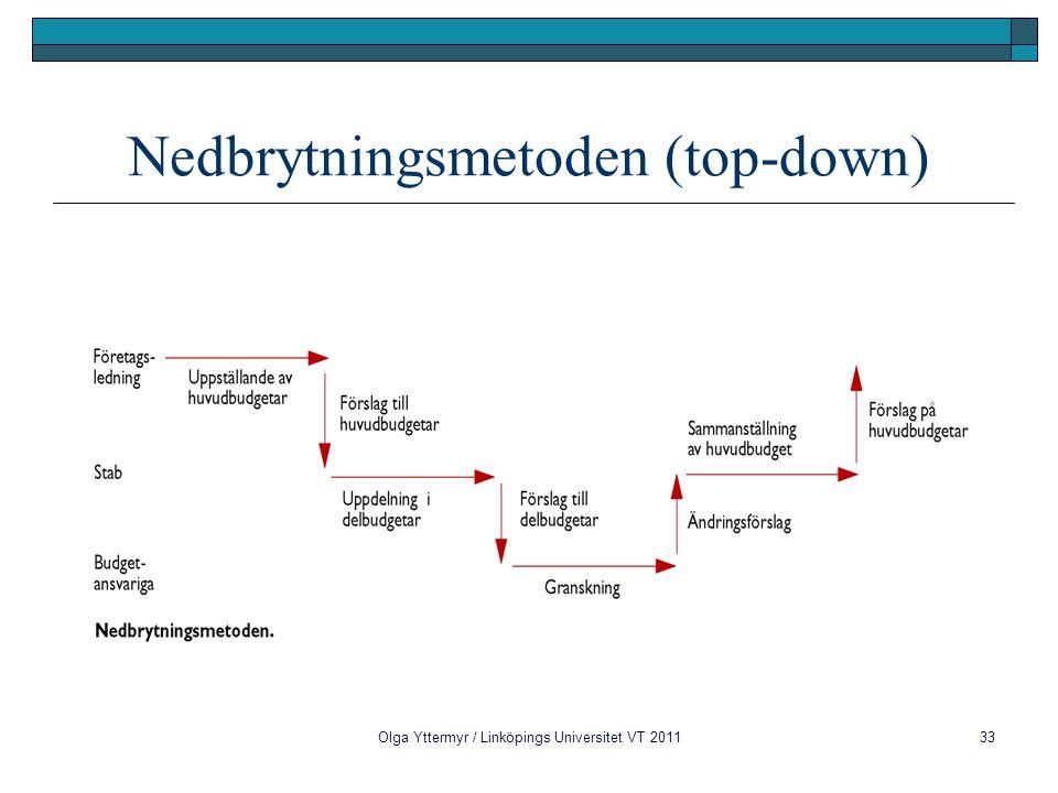 Olga Yttermyr / Linköpings Universitet VT 201133 Nedbrytningsmetoden (top-down)