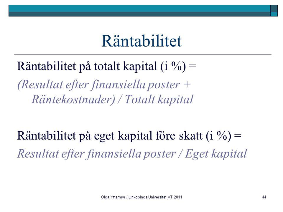 Olga Yttermyr / Linköpings Universitet VT 201144 Räntabilitet Räntabilitet på totalt kapital (i %) = (Resultat efter finansiella poster + Räntekostnad