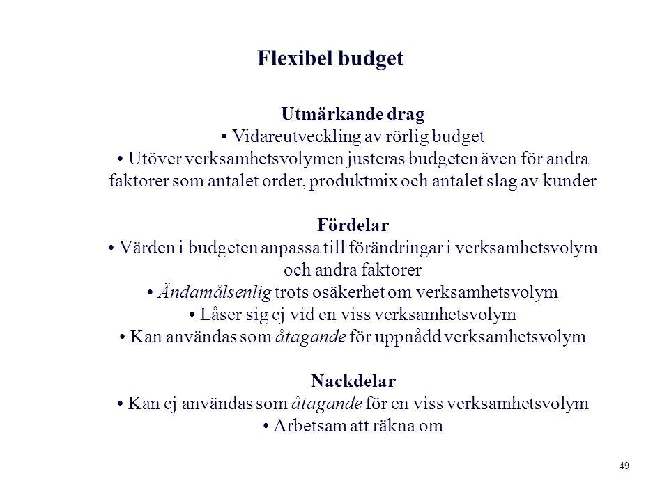 49 Utmärkande drag Vidareutveckling av rörlig budget Utöver verksamhetsvolymen justeras budgeten även för andra faktorer som antalet order, produktmix