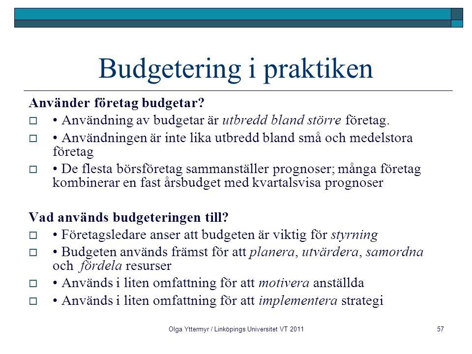 Budgetering i praktiken Använder företag budgetar?  Användning av budgetar är utbredd bland större företag.  Användningen är inte lika utbredd bland