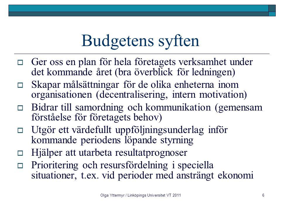 Budgetens syften  Ger oss en plan för hela företagets verksamhet under det kommande året (bra överblick för ledningen)  Skapar målsättningar för de