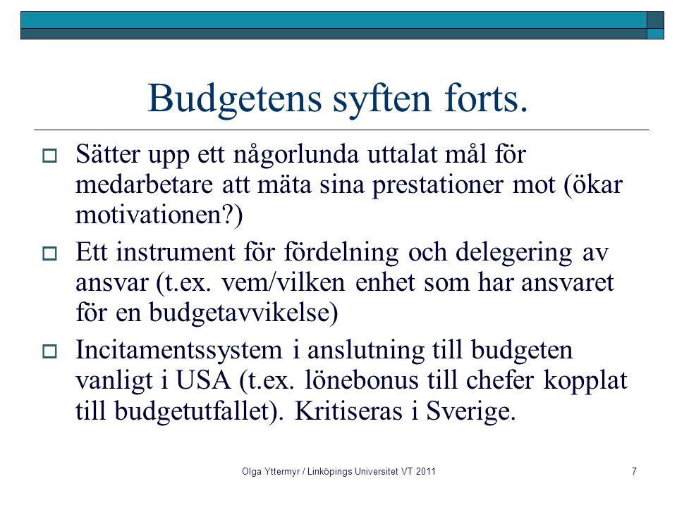 28 VerksamhetsplanFunktionsbudgetar FörsäljningsplanFörsäljningsbudget FärdigvarulagerLagerbudget TillverkningsplanTillverkningsbudget FörrådFörrådsbudget InköpsplanInköpsbudget