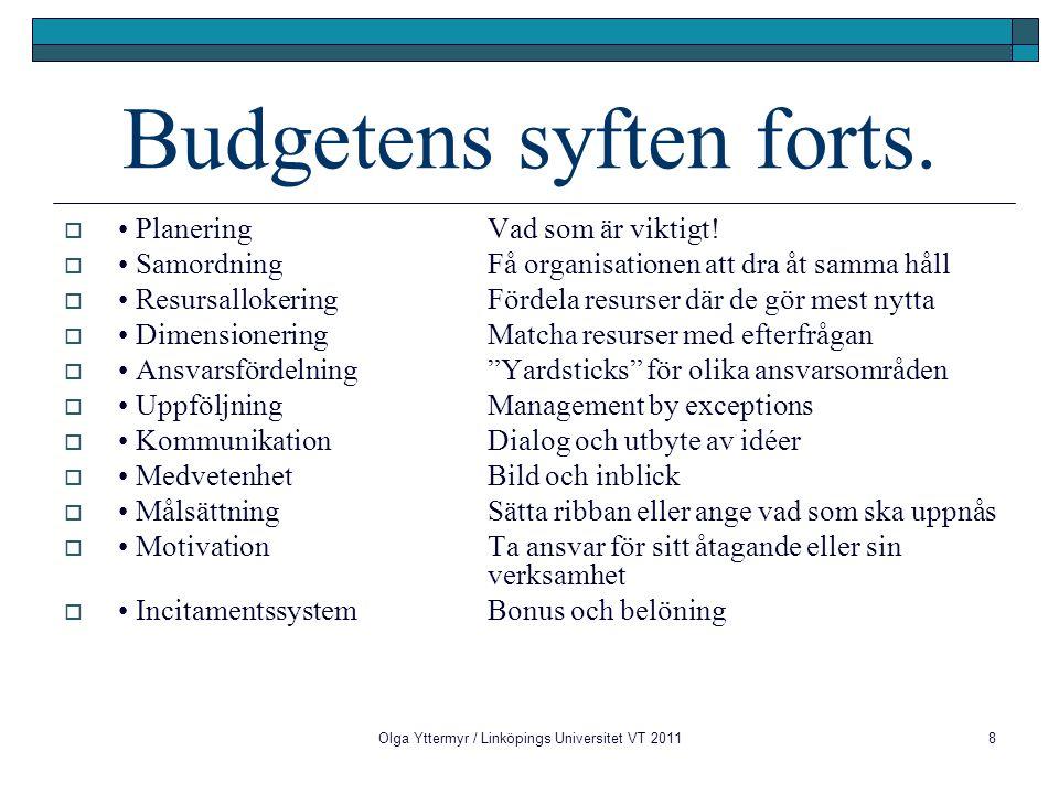 8 Budgetens syften forts.  Planering Vad som är viktigt!  Samordning Få organisationen att dra åt samma håll  Resursallokering Fördela resurser där