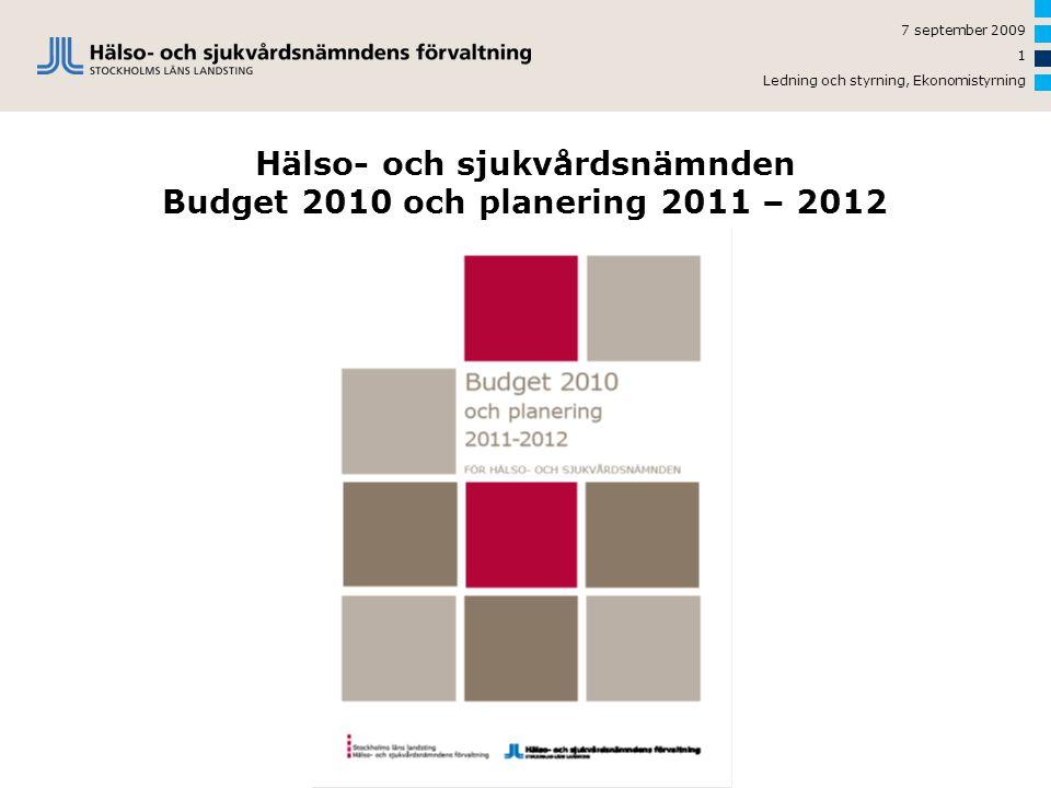7 september 2009 Ledning och styrning, Ekonomistyrning 1 Hälso- och sjukvårdsnämnden Budget 2010 och planering 2011 – 2012