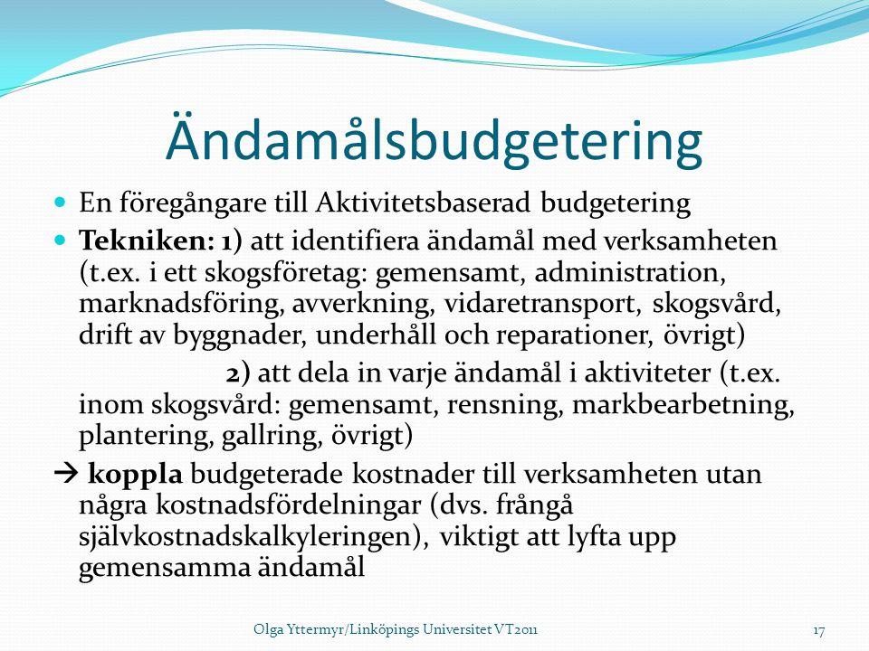 Ändamålsbudgetering En föregångare till Aktivitetsbaserad budgetering Tekniken: 1) att identifiera ändamål med verksamheten (t.ex. i ett skogsföretag: