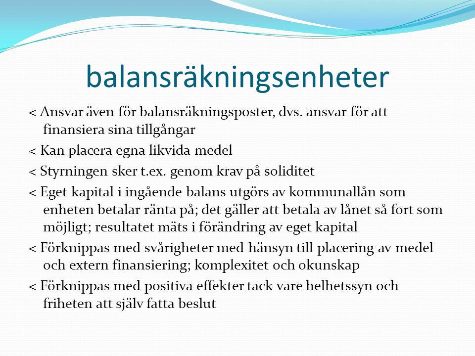 balansräkningsenheter < Ansvar även för balansräkningsposter, dvs. ansvar för att finansiera sina tillgångar < Kan placera egna likvida medel < Styrni