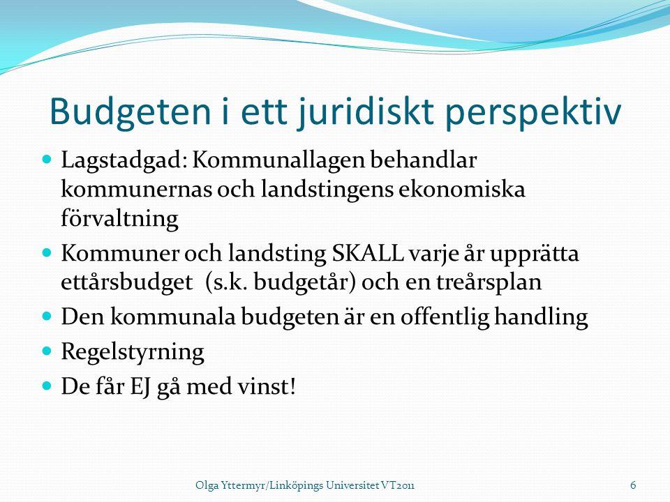 Budgeten i ett juridiskt perspektiv Lagstadgad: Kommunallagen behandlar kommunernas och landstingens ekonomiska förvaltning Kommuner och landsting SKA